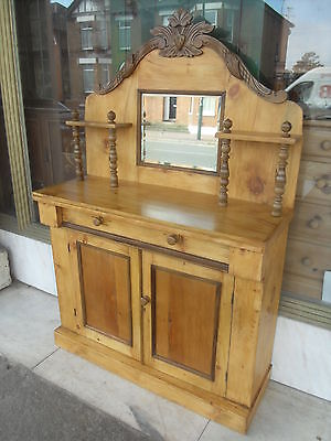 Victorian Antique Pine Chiffonier / Victorian Pine Sideboard  Cupboard & Drawer