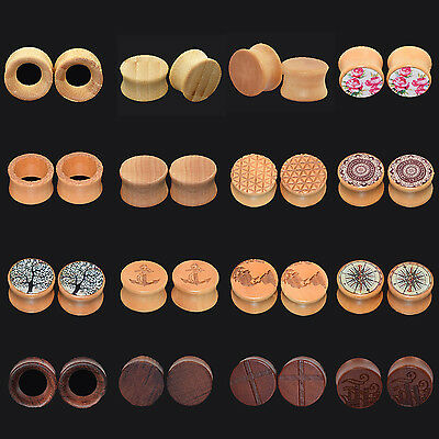 Ear Gauge Plug Stretcher Flesh Stretching Gauge Tunnel Earring Wood Saddle Fit
