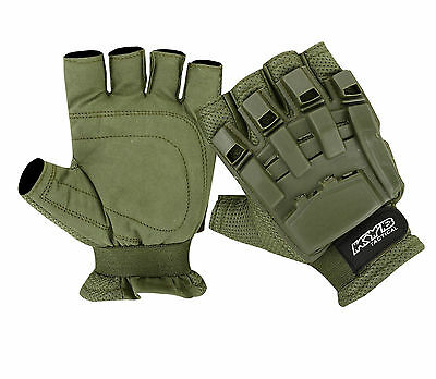 OLIVE Paintball Tactical Airsoft Hunting Cycling Armour Half Finger Less Gloves