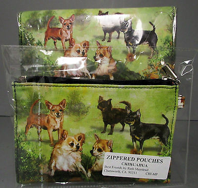 Chihuahua Dog Zippered Pouch & Check Book Wallet 5 Chihuahuas Dogs Free Shipping