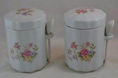 FDTA Taiwan Set of 2 Canisters with Lids and Spoons Shabby Chic Tight Seal