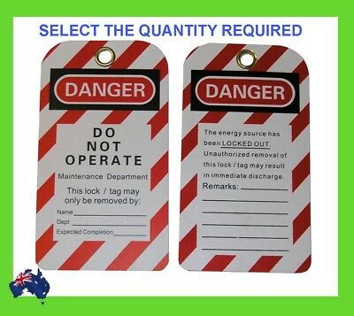 Danger- Do Not Operate Safety Card Sign Lock Out Tags Pkt 25 Lockout