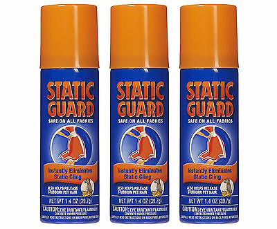 3 Static Guard Anti-Static Cling Spray, 1.4 oz Each Travel Size - NEW