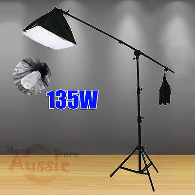 675W Photo Studio Softbox Soft Box Continuous Lighting Boom Arm Light Stand Kit