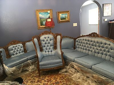 Victorian 3-piece Louis XV sofa, loveseat and chair.  Color Med Blue Brocade,  C
