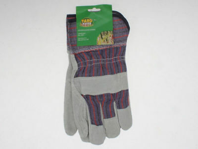 2 x Pairs Leather  & Fabric Gardening Gloves one size fits most