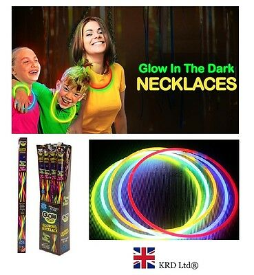 "22"" GLOW IN DARK NECKLACES Sticks Bracelets Party Favors Neon Color Halloween UK"