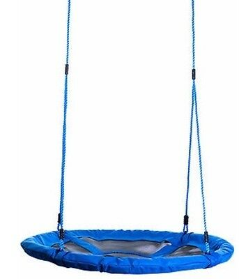 100cm Blue Round Web Mat Rope Nest Swing + Tree Straps - Kids & Special Needs