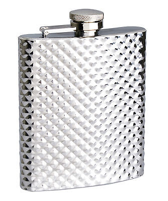 Stainless Steel 8oz 236ml Hip Flask - Diamond pattern - CLEARANCE