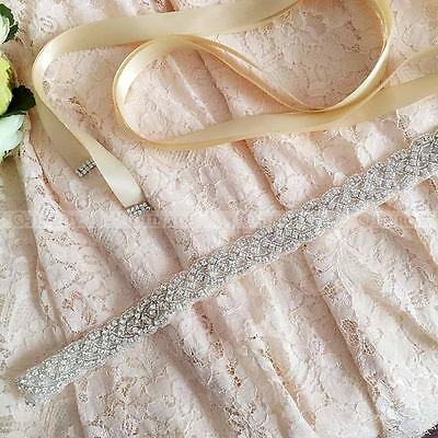 Retro Bridal Handmade Ribbon Pearl Rhinestone Crystal Wedding Dress Belt Sash