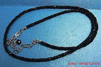 Faceted Black Tourmaline Bead Necklace With Sterling Silver Clasp + Chain