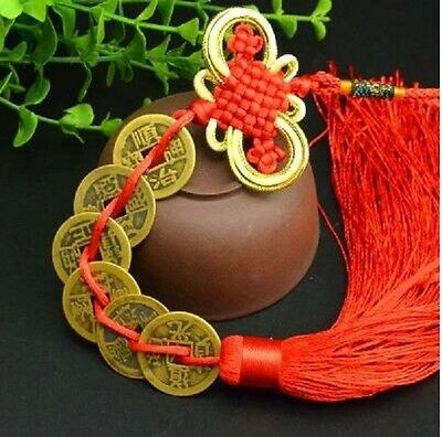 6 Lucky Coins Feng Shui Lucky Six Emperors Coins Red Tassel For Fortune F009-6
