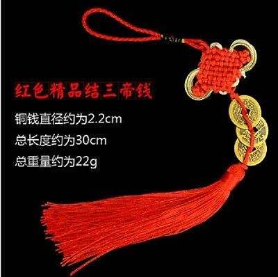 3 Coins Feng Shui Lucky Three Emperors Coins Red Tassel For Fortune F009-3