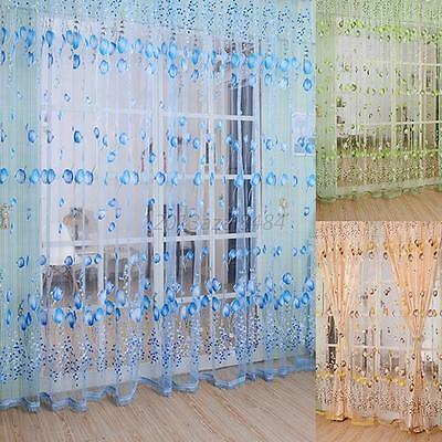 String Line Tassel Curtain With Beads Window Room Divider Scarf Valance Voile