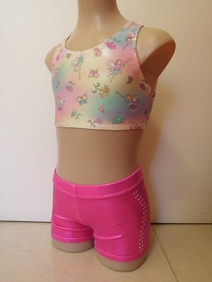 NEW PINK FAIRIES & LOLLY PINK FOIL CROP SET DIAM CInt Sz 7 Gymnastics Leotard