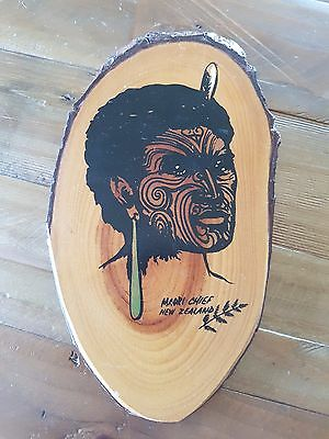 Vintage Retro Maori Chief Wooden Wall Art New Zealand Hanging