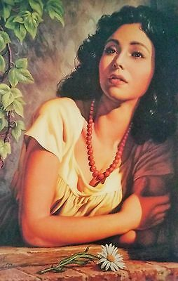 Traditional Mexican Calendar Art Jesus Helguera beautiful girl on window