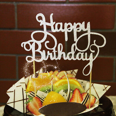 Chic Gold Silver Cake Topper Happy Birthday Party Supplies Decorations Fashion