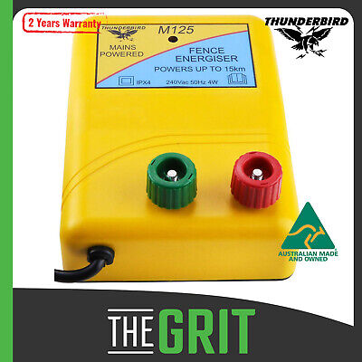 15Km Thunderbird Electric Fence Energiser Mains Powered M120 2 Year Warranty