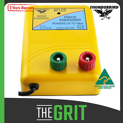 Thunderbird 15 km M125 Mains POWERED Electric Wire Fence Energiser CHARGER Farm