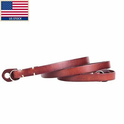 US CANPIS Calfskin Real Leather Shoulder Neck Strap with Box fr Leica Fuji Brown