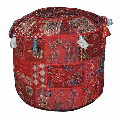 Pouf Ottoman Indian Saree Pouffe Round Poof Foot Stool Floor Pillow Ethnic Decor