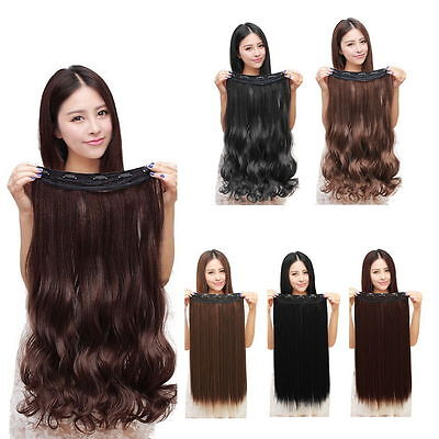 100% Natural 3/4 Full Head Clip In Hair Extensions Curly Wavy Straight Hair XH