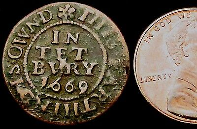 "S186: 1669 Farthing - Tetbury Town Issue - rarer ""D distant from flower"". G.163A"