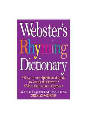 NEW Webster's Rhyming Dictionary by Paperback Book (English) Free Shipping