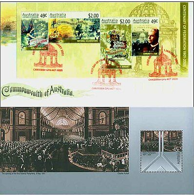 Australian 1901-2001 Mini-Sheets PAIR Centenary Federation Commemorative Stamps