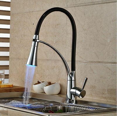 Chrome Brass Finished LED Color Pull-out Spray kitchen Mixer Tap Deck Mounted
