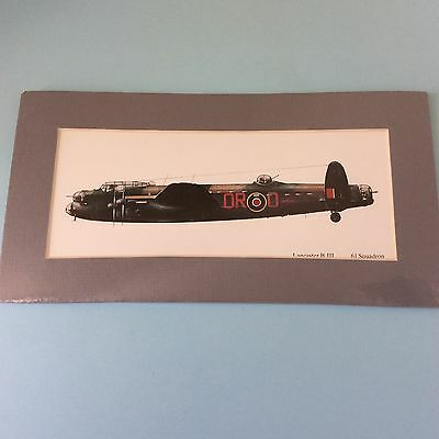 WAR PLANE COLOUR PRINT LANCASTER B III BOMBER 61 Squadron Matt Boarded for Frame