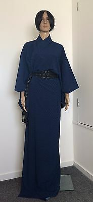 Authentic handmade Japanese silk crepe women's blue kimono, very long  (F289)