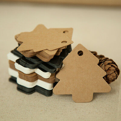 50Pcs Xmas Tree Shape Paper Label Price Hang Tag Card DIY Wedding Fancy Decor