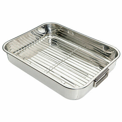 Large Stainless Steel Roasting Pan and Rack with Handles