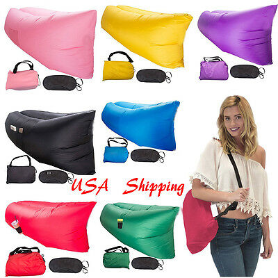 Inflatable Lounger Air Filled Balloon Outdoor/Indoor Sleeping Bed Folding Sofa