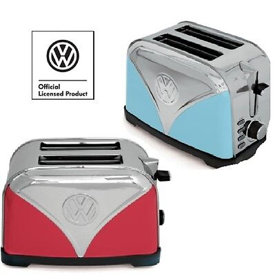 VW Campervan Toaster Stainless Steel 2-Slice Red or Blue Officially Licensed