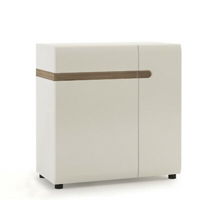 1 Drawer 2 Door Sideboard in White Gloss with an Truffle Oak Trim