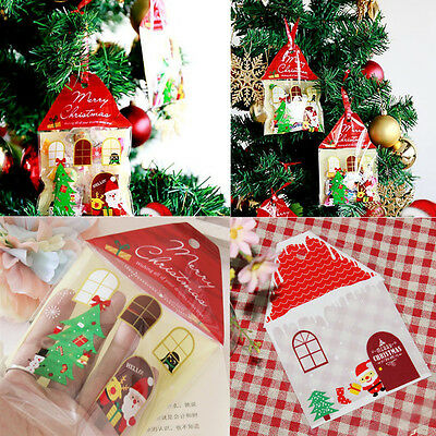 100 Christmas House Cookies Sweet Candy Biscuit Party Favour Gift Cellophane Bag