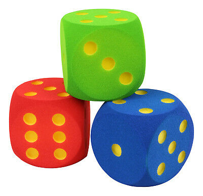 VOLLEY ® Soft dado - 16 cm - green - red - blue - foam dice - cube - play toy