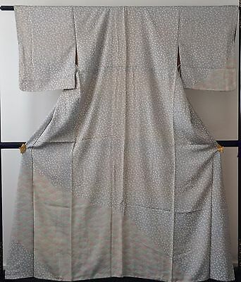 Authentic handmade Japanese silk kimono for women, grey/flowers (F297)