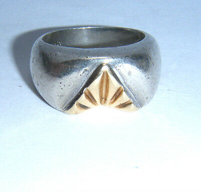 Rare Unusual 'MASONIC' High Quality Silver & 14ct Gold Ring - 10.3g - No Reserve
