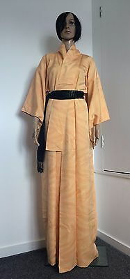 Authentic Japanese silk kimono, orange, amazing condition (F298)
