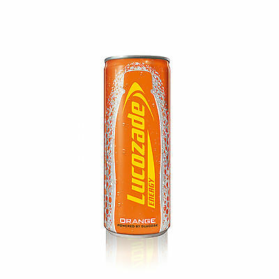 24 X Lucozade Energy Drink Orange Flavour Can Powered by Glucose 250 ml each