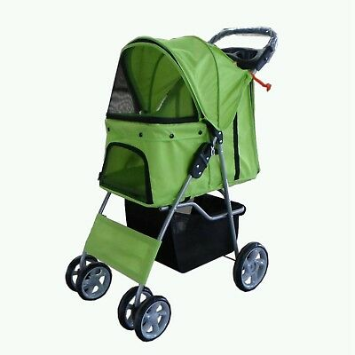 FoxHunter Pet Travel Stroller Pushchair Pram Green For Dogs Puppy Cat 4 Wheels