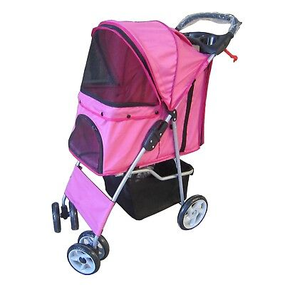 Pet Travel Stroller Pushchair Pram Pink For Dogs Puppy Cat With Swivel Wheels