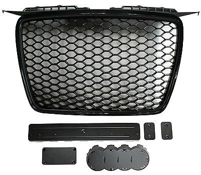 Gloss black honeycomb mesh car grill compatible with Audi A3 8P2 2005-2008