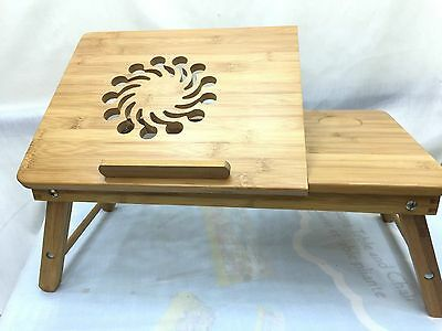 UK STOCK-Protable Bamboo Laptop Notebook  Desk Bed Tray Folding Stand Table