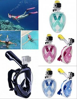 Full Face Mask Surface Underwater Diving Snorkel Scuba Anti For GoPro Swim Tools