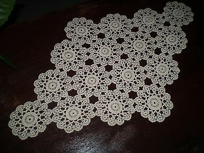 27''x17''Ecru Crocheted Vintage Handmade  Cotton  tablecloth
